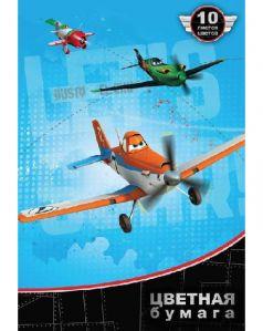 Бумага цветная А4 10л Disney Самолеты