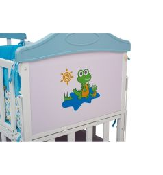Кровать BabyHit Sleepy, цвет: белый/голубой/динозаврик