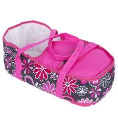 Коляска для кукол Wakart Анна (розовая с цветами)