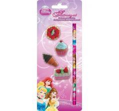 Набор канцелярский Disney Принцессы Диснея карандаш ч/г+ 4 разборных ластика-пирожных