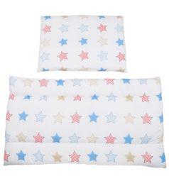 Leader Kids Комплект в коляску Звездный морячок Матрас/Подушка 2 предмета 2-х спальный, цвет: синий