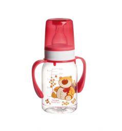 Бутылочка Canpol С ручками тритан с 3 мес, 120 мл, цвет: красный
