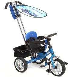 Детский трехколесный велосипед с ручкой Capella Air Trike, цвет: синий/аквамарин