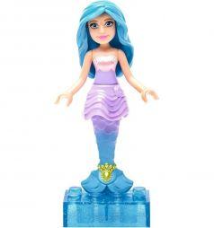 Кукла Mega Bloks Барби с голубыми волосами в фиолетовом топе, 6 дет.