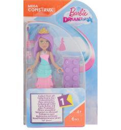 Кукла Mega Bloks Барби с фиолетовыми волосами с диадемой, 6 дет.