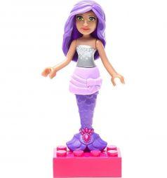 Кукла Mega Bloks Барби с фиолетовыми волосами в сером топе