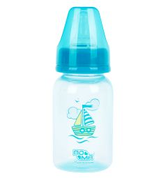 Бутылочка Пома медленный поток с 0+ полипропилен с рождения, 140 мл, цвет: голубой