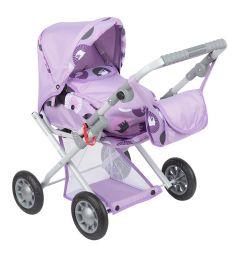 Коляска для кукол Wakart Магда фиолетовая с цветами