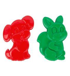 Игровой набор для песка Полесье Формочки Белочка и Песик, цвет: зеленый/красный 16 см