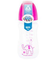 Бутылочка Canpol Colourful animals с широким горлышком полипропилен с 3 мес, 240 мл, цвет: фиолетовый