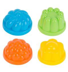 Игровой набор для песка Полесье Формочки, цвет: голубой/желтый/салатовый/оранжевый 8 см