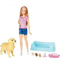 Кукла Barbie с собакой с новорожденными щенками 28 см
