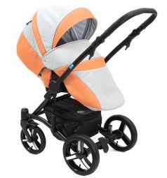 Коляска 2 в 1 Mr Sandman West-East Premium, цвет: персиковый перфорированный/серый