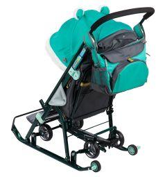 Санки-коляска Ника Детям 7-2, цвет: коллаж-лисичка/изумруд