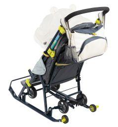 Санки-коляска Ника Детям 7-2, цвет: коллаж-мишка/бежевый