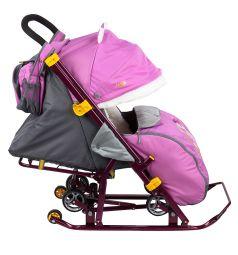 Санки-коляска Ника Детям 7-2, цвет: dog орхидея