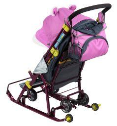 Санки-коляска Ника Детям 7-2, цвет: коллаж-снеговик/орхидея