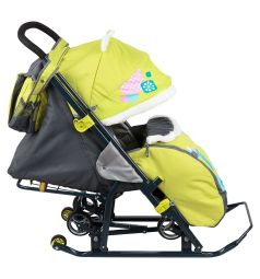 Санки-коляска Ника Детям 7-2, цвет: коллаж-жираф/лимонный