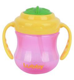 Поильник Lubby Mini Twist с трубочкой, цвет: розовый/ручки желтые
