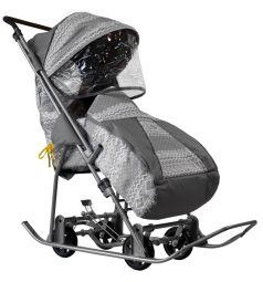 Санки-коляска Galaxy Снежинка Универсал, цвет: финляндия/серый