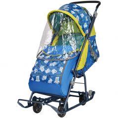 Санки-коляска Ника Умка 3-1/2, цвет: медвежата на синем