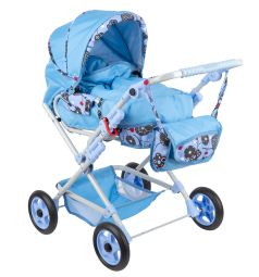 Коляска для кукол Wakart Майя голубая с цветами