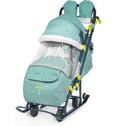Санки-коляска Ника Ника детям 7-3/3, цвет: зеленый