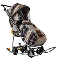 Санки-коляска Galaxy Снежинка Универсал, цвет: скандинавия/коричневый
