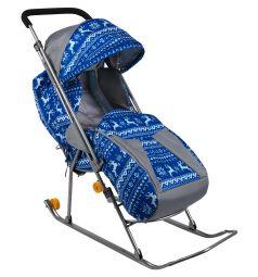 Санки-коляска Galaxy Снежинка премиум, цвет: олени синие