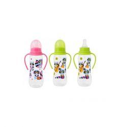 Бутылочка Мир Детства с ручками Енотики полипропилен, 250 мл, цвет: розовый
