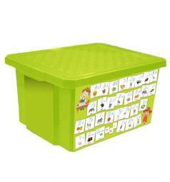 Ящик для игрушек Little Angel X-Box Обучайка Азбука, цвет: салатовый