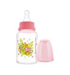 Бутылочка Мир Детства с силиконовой соской полипропилен с рождения, 125 мл, цвет: розовый