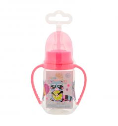Бутылочка Мир Детства Енотики С ручками полипропилен с 6 мес, 125 мл, цвет: розовый