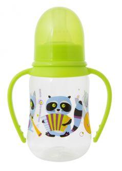Бутылочка Мир Детства Енотики полипропилен с 6 мес, 125 мл, цвет: зеленый