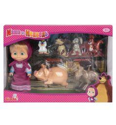 Кукла Simba Маша и Медведь Маша с друзьями-животными 12 см