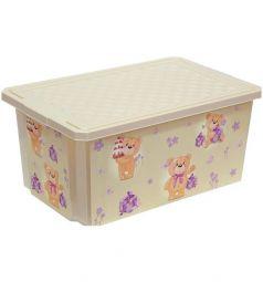Ящик для игрушек Little Angel X-Box Bears, цвет: бежевый