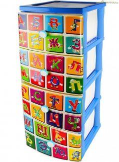 Комод Эльфпласт №3 с рисунком Алфавит, цвет: голубой