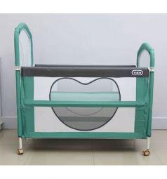Кроватка-манеж Tizo Be Happy, цвет: зеленый/серый