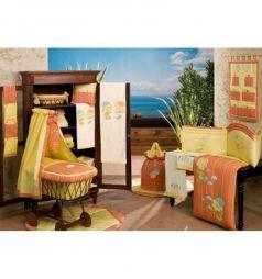 Бортик в кроватку BabyPiu Подсолнухи, цвет: оранжевый/желтый