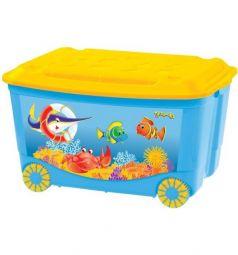 Ящик для игрушек Бытпласт С аппликацией, цвет: голубой