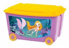 Ящик для игрушек Бытпласт С аппликацией, цвет: сиреневый