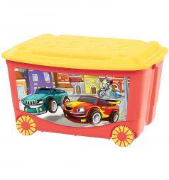 Ящик для игрушек Бытпласт С аппликацией, цвет: красный