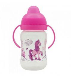 Поильник-непроливайка Lubby Веселые животные с твердым носиком, с 6 месяцев, цвет: розовый