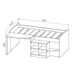 Кровать-чердак Polini 4000 со столом и полками, цвет: белый