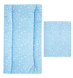 Leader Kids Комплект в коляску Маленькие белые звезды матрас/подушка, цвет: голубой