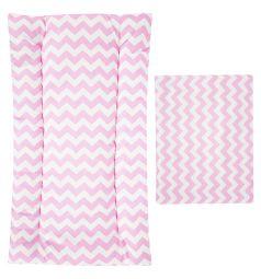 Leader Kids Комплект в коляску Зиг-заг матрас/подушка, цвет: розовый