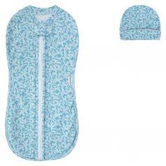 Комплект конверт/чепчик Pecorella Army desing, цвет: голубой/серый