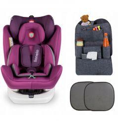Автокресло Lionelo Bastiaan Isofix + подарок шторки и органайзер, цвет: violet