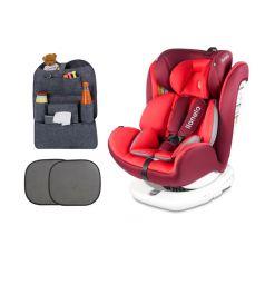 Автокресло Lionelo Bastiaan Isofix + подарок шторки и органайзер, цвет: red