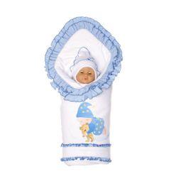 Комплект на выписку одеяло/шапка/комбинезон/пояс для одеяла Babyglory 90 х 90 см Соня, цвет: голубой